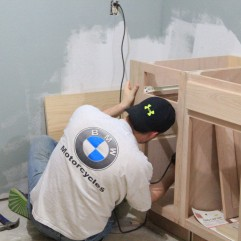 Hubby doing a little custom cabinetry for me to give me more storage!